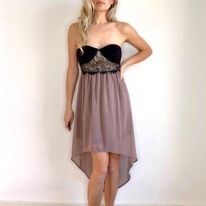 Strapless Hi Lo Hem Brown & Black Dress Padded S